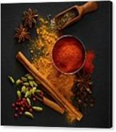 Dried Spices On Black Slate Canvas Print