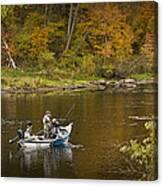 Drift Boat Fishermen On The Muskegon River Canvas Print