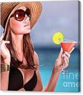 Drink Cocktail On The Beach Canvas Print