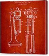 Drink Mixer Patent From 1930 - Red Canvas Print
