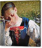 Drinking From The Hand Canvas Print