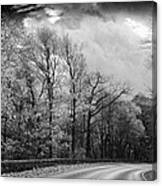 Drive Through The Mountains Bw Canvas Print