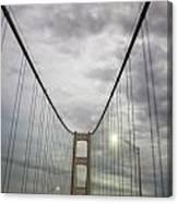 Driving The Mackinac Bridge  Canvas Print