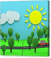 Driving Through Countryside Canvas Print