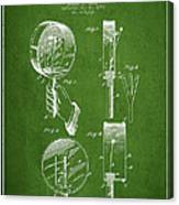 Droop Hand  Drum Patent Drawing From 1892 - Green Canvas Print