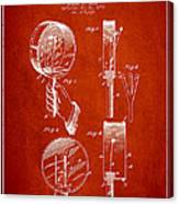 Droop Hand  Drum Patent Drawing From 1892 - Red Canvas Print