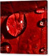 Droplets On Red Canvas Print