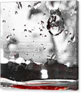 Drops Of Water With Red Canvas Print