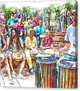 Drum Circle Of Friends Canvas Print