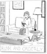 Drunk And Orderly -- A Woman Reads A Book Canvas Print