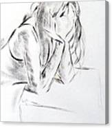 Dry Brush Painting Of A Young Womans Face Canvas Print