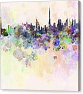 Dubai Skyline In Watercolour Background Canvas Print