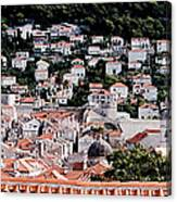 Dubrovnik Rooftops Domes And North East Walls Against The Mountains From The Sea Walls Canvas Print