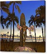 Duke Kahanamoku Statue At Dusk Canvas Print