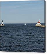 Duluth N And S Pier Lighthouses 5 Canvas Print