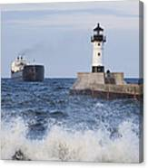 Duluth N Pierhead And Ship 1 Canvas Print