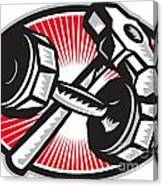 Dumbbell And Sledgehammer Retro Canvas Print
