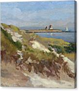 Dunes Of Napatree With Watchhill Light  Canvas Print