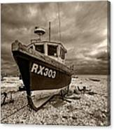 Dungeness Boat Under Stormy Skies Canvas Print