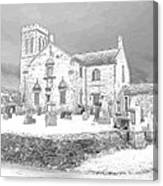 Dunlop Kirk In Snow Canvas Print
