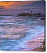 Dusk At La Caleta Beach Cadiz Spain Canvas Print