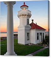 Dusk At Mukilteo Lighhouse Canvas Print