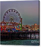 Dusk At The Santa Monica Pier Canvas Print