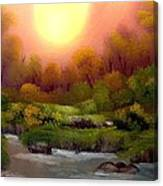 Dusk On The Riverbank Canvas Print