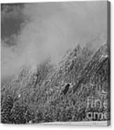 Dusted Flatirons Low Clouds Boulder Colorado Bw Canvas Print