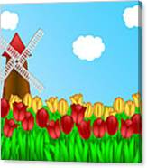 Dutch Windmill In Tulips Field Farm Illustration Canvas Print