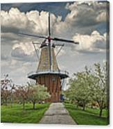 Dutch Windmill The Dezwaan On Windmill Island In Holland Michigan Canvas Print