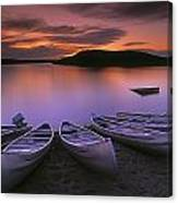 D.wiggett Canoes On Shore, Pink And Canvas Print