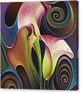 Dynamic Floral 4 Cala Lillies Canvas Print