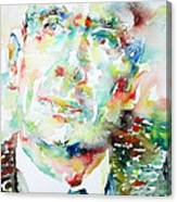 E. E. Cummings - Watercolor Portrait Canvas Print