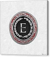 E - Silver Vintage Monogram On White Leather Canvas Print