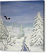 Eagle On Winter Lanscape Canvas Print