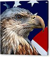 Eagle With Us American Flag Canvas Print
