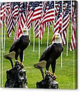 Eagles And Flags On Memorial Day Canvas Print