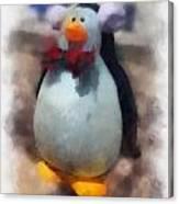 Ear Muff Penguin Photo Art Canvas Print