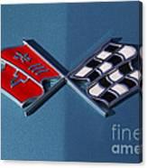 Early C3 Corvette Emblem Blue Canvas Print