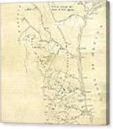Early Hand-drawn Southern Texas Map C. 1795 Canvas Print