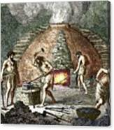 Early Humans Smelting Iron Canvas Print
