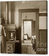 Early Kitchen With A Wood Kitchen Stove Circa 1906 Canvas Print