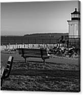 Early Morning At Bug Lighthouse Bw Canvas Print