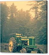 Early Morning Tractor In Farm Field Canvas Print