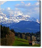 Early Snow In The Swiss Mountains Canvas Print