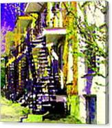 Early Spring Stroll City Streets With Spiral Staircases Art Of Montreal Street Scenes Carole Spandau Canvas Print