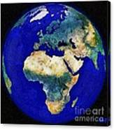 Earth From Space Europe And Africa Canvas Print