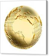Earth In Gold Metal Isolated - Africa Canvas Print
