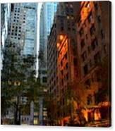 East 44th Street - Rhapsody In Blue And Orange Canvas Print